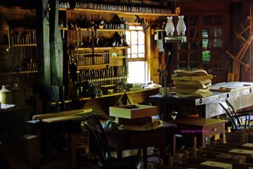 antique woodworking tools in workshop