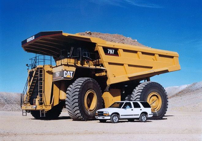 Cat 797 and car