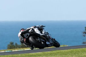 A rider takes a turn at the MotoGP phillip island
