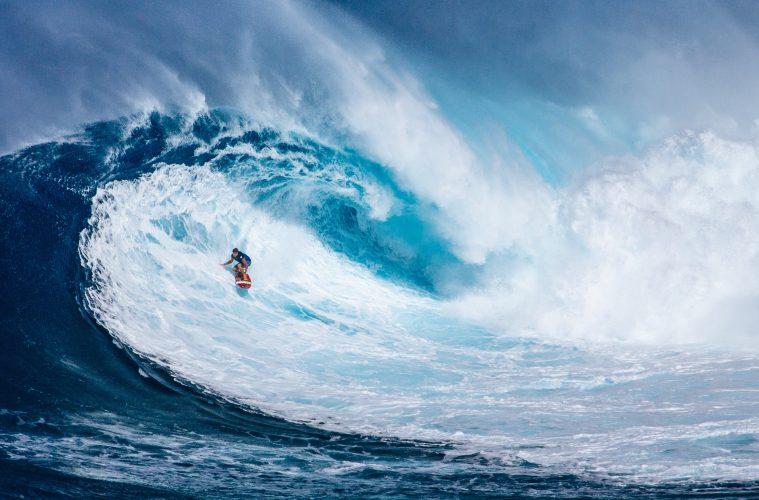 Small human, huge surf