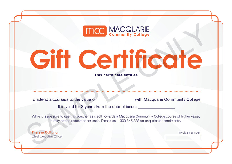 Gift Certificates Macquarie Community College