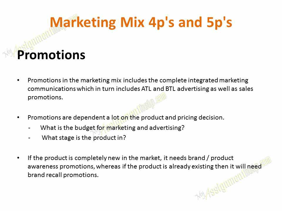 Marketing Mix 4P's, 7P's and 7C's Assignment Help