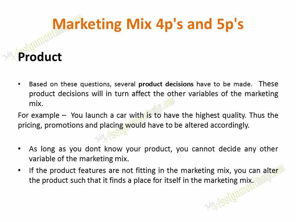 marketing mix 5 essay Know about the 5 c's of marketing strategies and key areas involved in marketing decisions what is marketing mix and why is it so important for us to discuss it.
