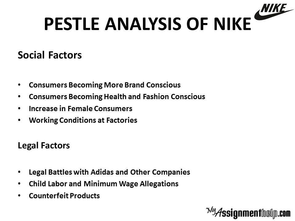 pestle analysis of nike Pest analysis is used to assess the market environment for a business • political • economic • social • technology there are variations of the model which.
