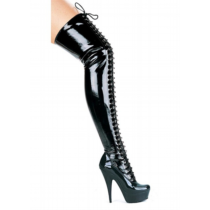 6″ Thigh High Boots Front Lace-Up