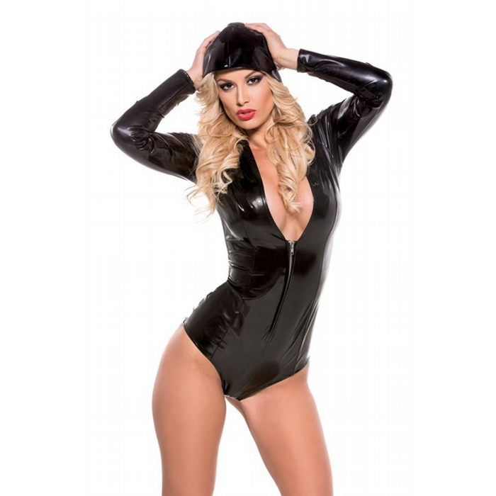 Skin Tight Hooded Jumpsuit