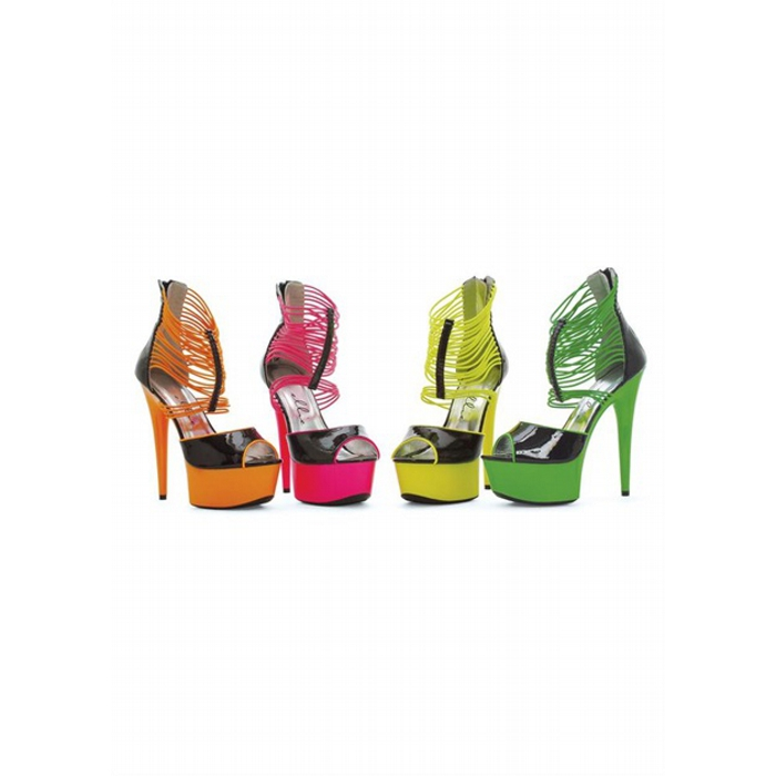 6″ Neon Stiletto With Elastic Bands