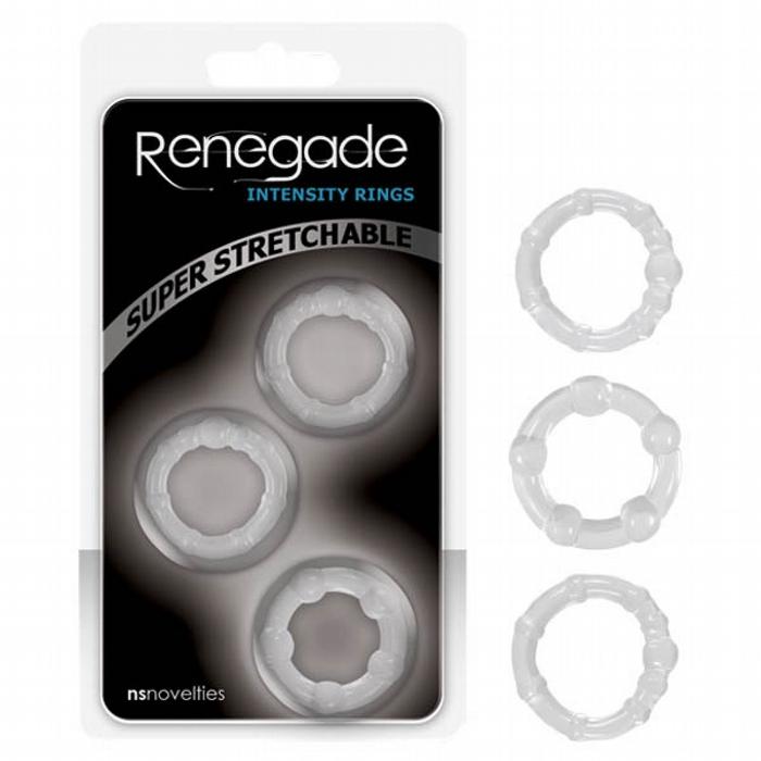 NS Novelties Renegade Intensity Rings Clear Set of 3