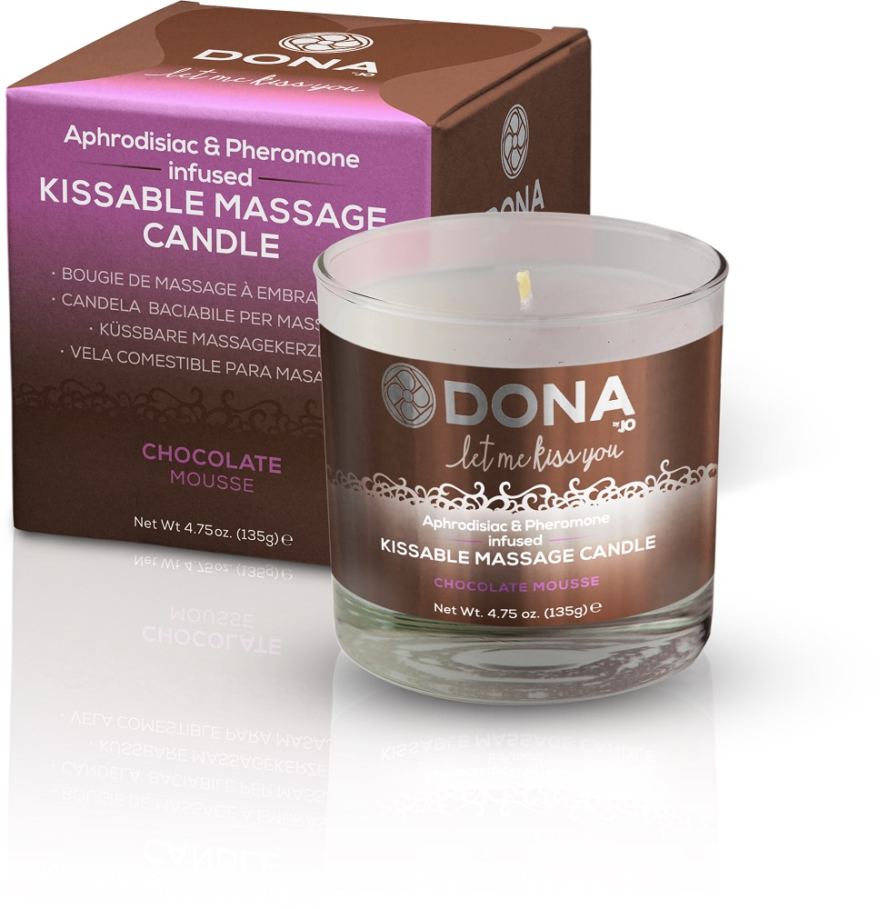 DONA for System JO Kissable Massage Oil Candle, chocolate mousse