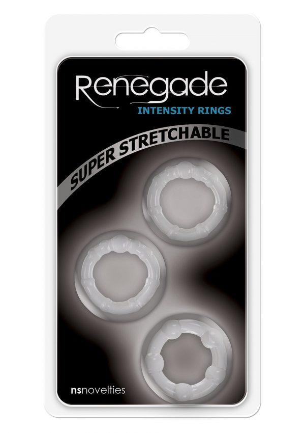 NS NOVELTIES RENEGADE INTENSITY RINGS CLEAR SET OF 3