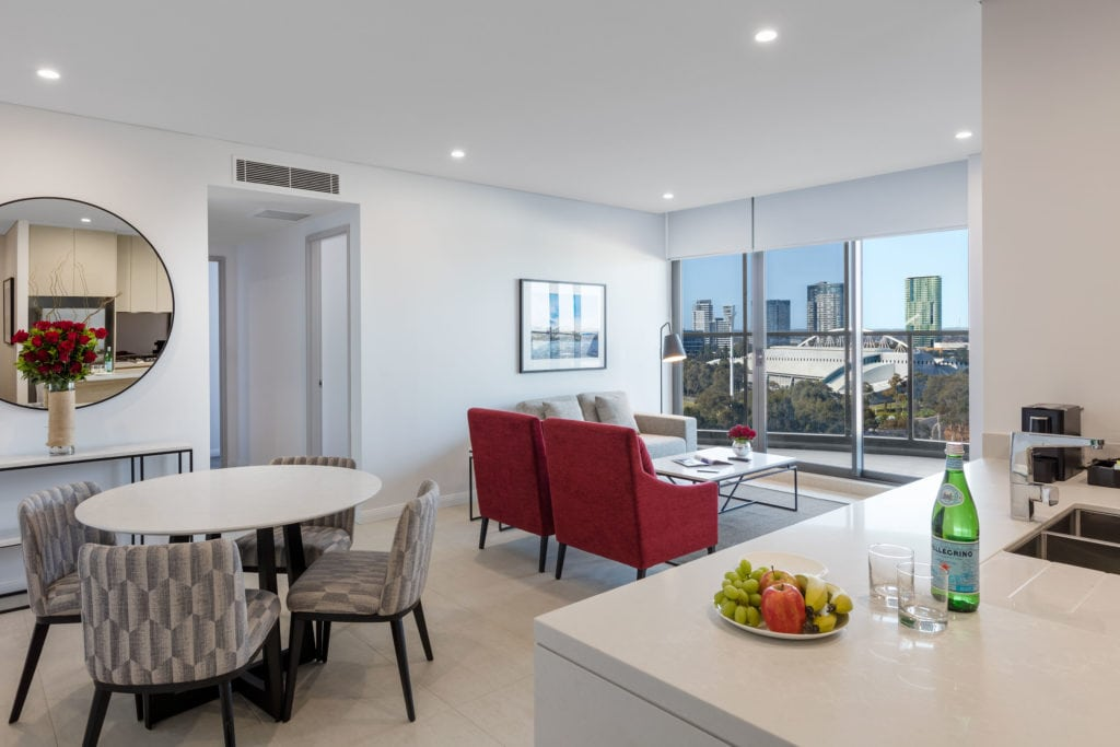 Meriton's newest hotel is positioned to service Sydney's sporting and entertainment capital.