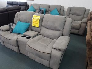 Large 3-Piece Grey Full Recliner Lounge Suite from Ex-Display