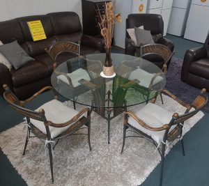 Elegant Cane and Glass 5-Piece Dining Suite