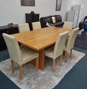 7-Piece Wood/Genuine Leather Dining Suite