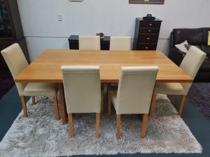 7-Piece Wood/Genuine Leather Dining Suite