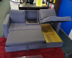 Multi-functional Master Piece! 3 Seater Sofa Bed with Chaise/Cupholders & more