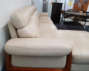 Genuine Leather 4-Seater Chaise Sofa in Cream