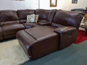 Large 6-Piece Leather Corner Suite with a Chaise in Espresso Brown