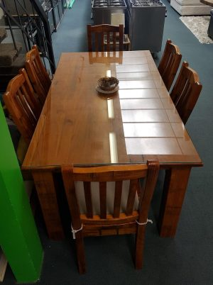 Gorgeous 7-Piece Solid Wood with Glass Top Dining Suite