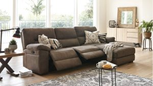 Jenson 2.5 Seater Fabric Recliner Sofa with Chaise by Synargy