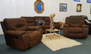 The 'Manchester' Suede & Nubuck Full Recliner Suite with Swivel Chair