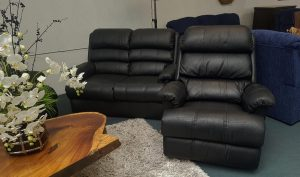 Genuine Leather La-Z-Boy 2+1+1 Lounge Suite – Black