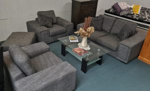 Gorgeous 2+1+1 Seater Charcoal Weave Designer Suite with Ottoman