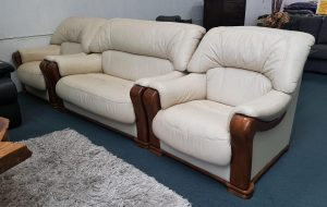 Leather 3-Piece Suite in Cream