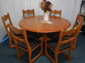 Solid Wood Round 7-Piece Dining Suite