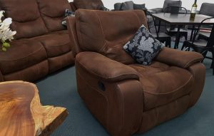 The 'Manchester' Suede & Nubuck Full Recliner Suite