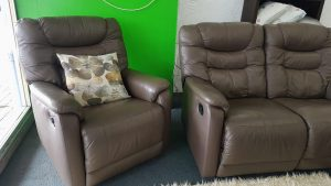 Genuine Leather John Young 2+1+1 Full Recliner Lounge Suite – Cappuccino