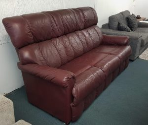 Maroon Genuine Leather 3 Seater Sofa – LaZboy