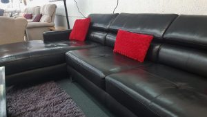 Stunning Fitzroy High Quality Leather Chaise Suite in Bermuda Black