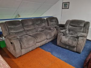 Traded In Suede 3+1+1 Full Recliner Suite – Grey