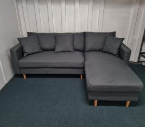 Gorgeous 2.5 Seater Fabric Chaise Sofa – Steel Grey