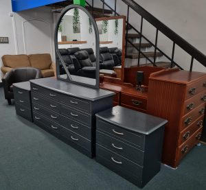 Gorgeous Milano Silver 3-Piece Bedroom Suite (Dresser & Side Drawers)