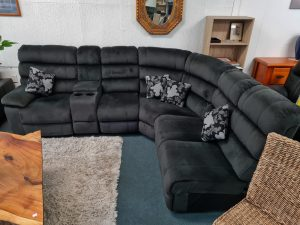 Beautiful Soft Suede Corner Lounge Suite in Charcoal