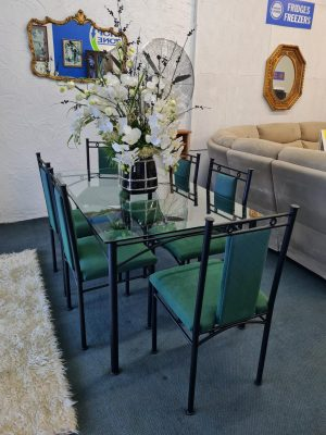 Stunning 7-Piece Tempered Glass Dining Suite (Includes Matching Coffee Table & Side Table)
