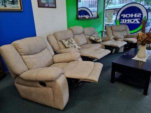 Stunning Suede Full Recliner Suite 3+1+1 Tan Beige