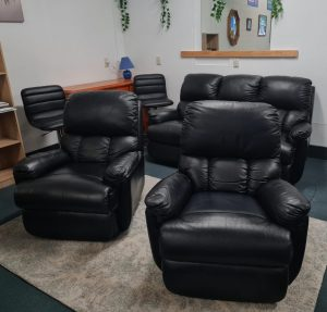 John Young Black Genuine Leather 3+1+1 Recliner Lounge Suite