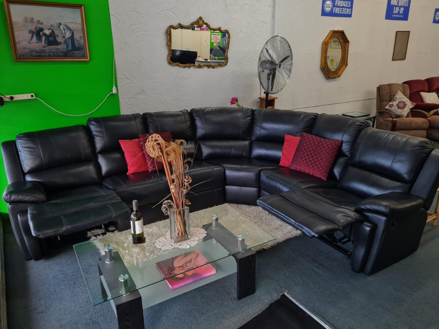 Genuine Leather Corner Recliner Lounge Suite – Black