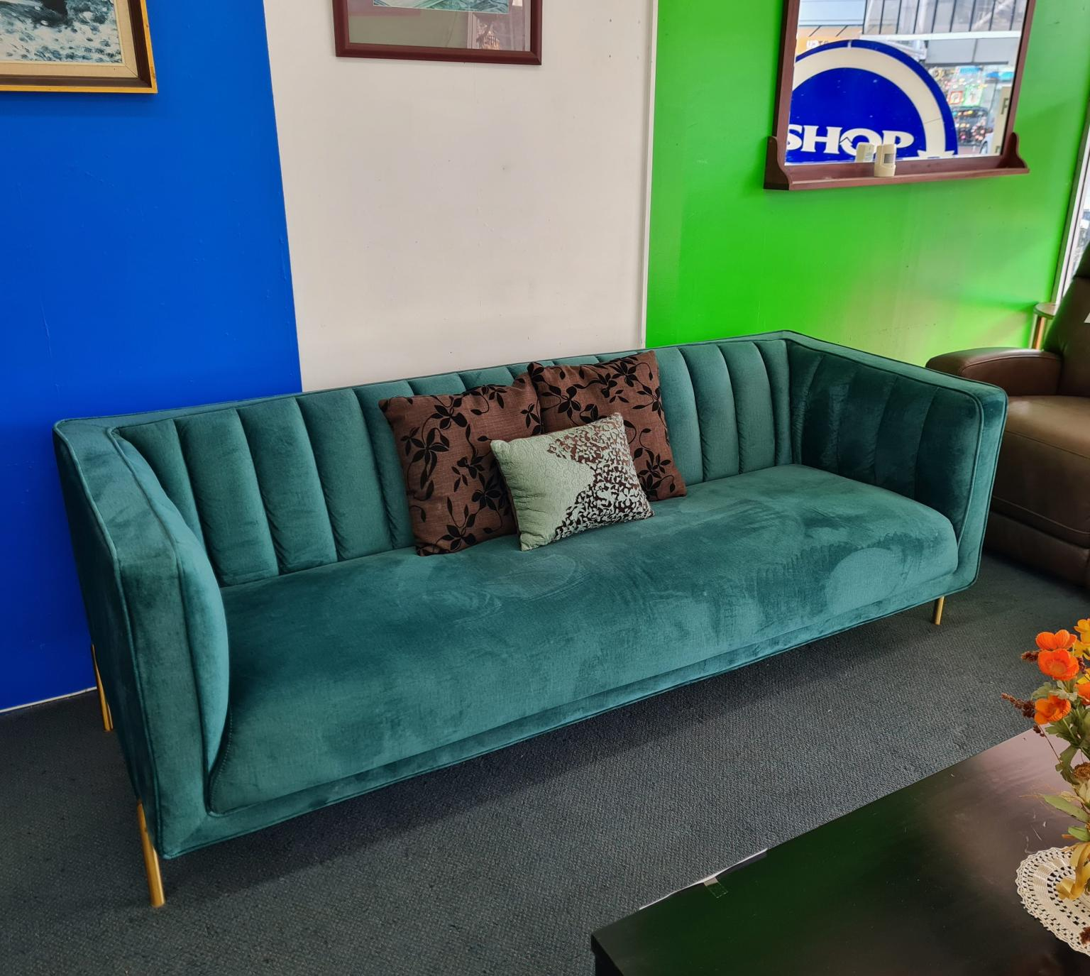 Stylish Falcon 3-Seater Sofa – Peacock Green