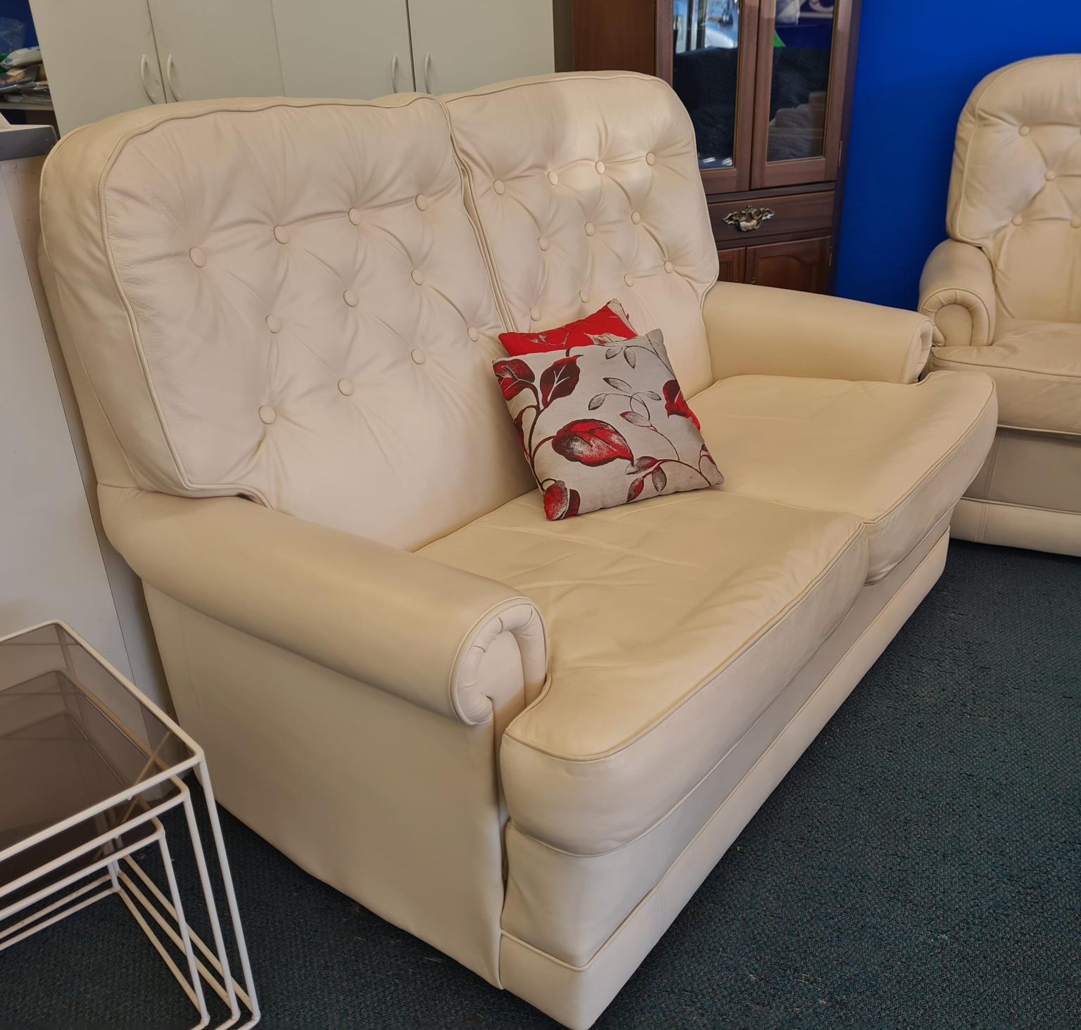 Danske Mobler 6-Seater Leather Sofa Set in Cream