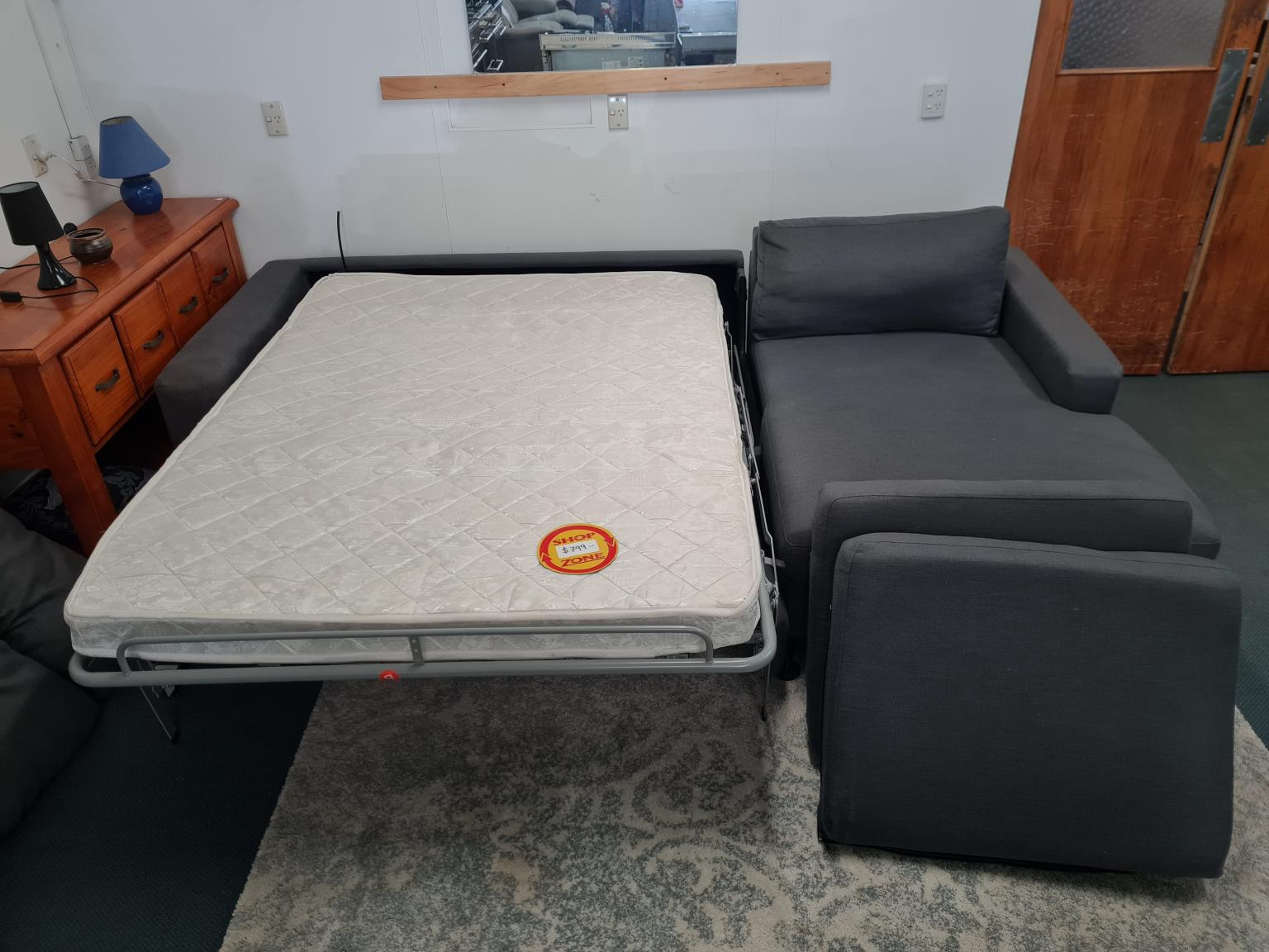 3 Seater Sofa Chaise with Pull-Out Bed