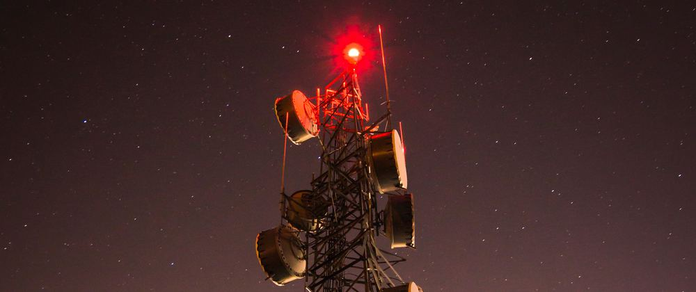 A radio tower at night