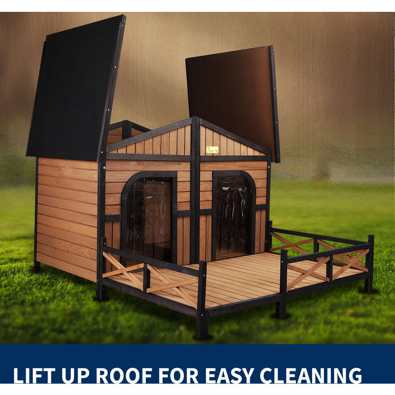 Xxl outdoor wooden waterproof 2 door dog kennel buy wood for Xxl dog house