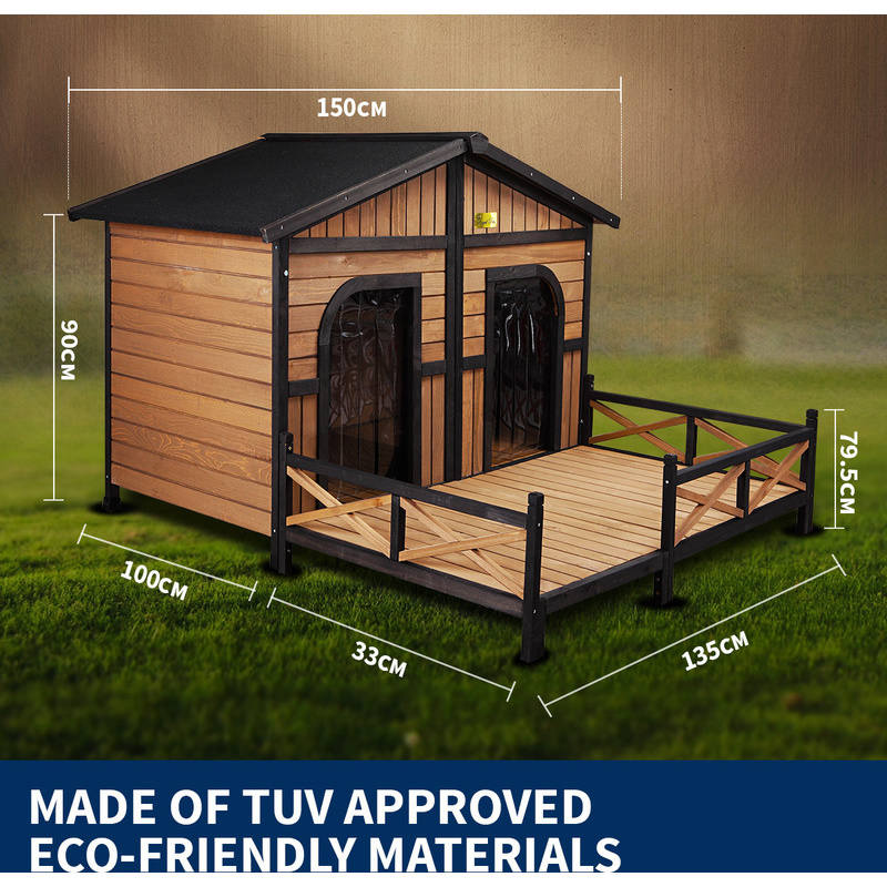 Xxl outdoor wooden waterproof 2 door dog kennel buy wood for 2 door dog house