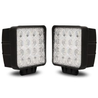 2x Square LED Lights w/ Spot Beam 48W 12-24V