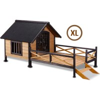 Extra Large Timber Dog Kennel House with Patio