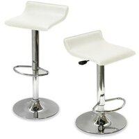 2x S Curve PU Leather Gas Lift Bar Stool in White